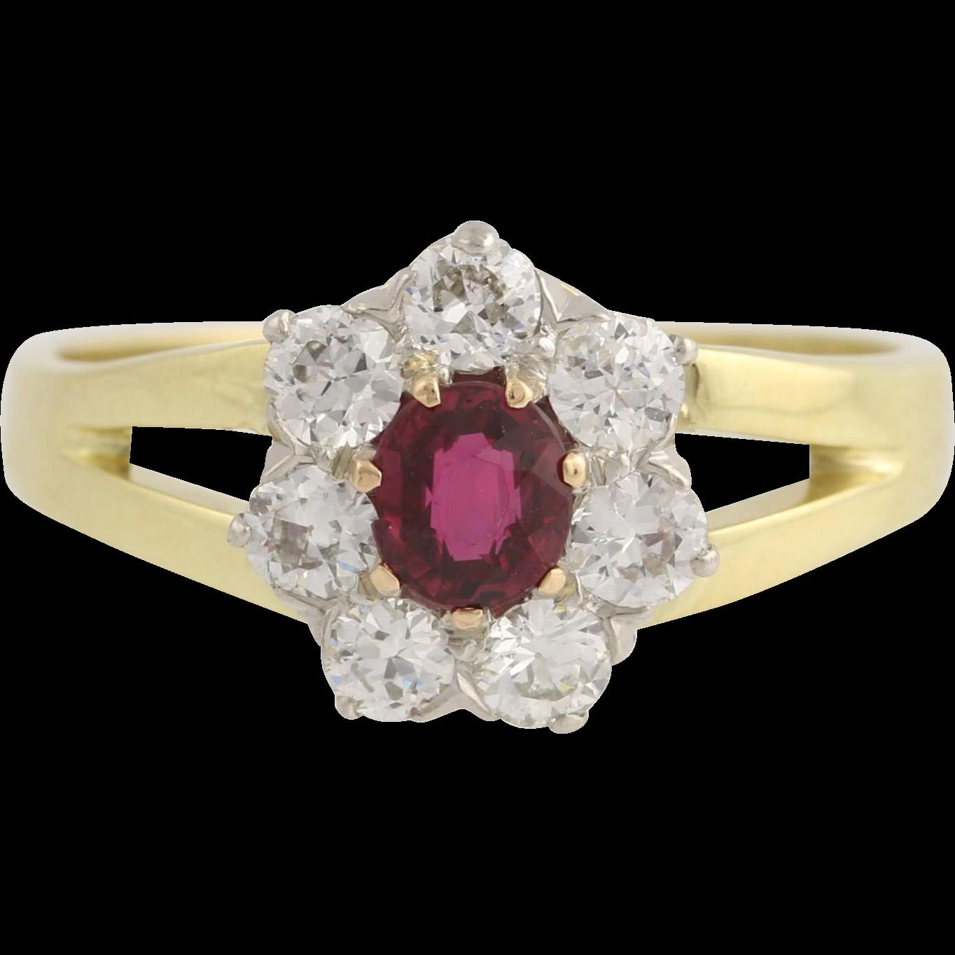 Ruby & Diamond Ring - 18k Yellow Gold and Platinum July Birthstone Genuine 1.15ctw