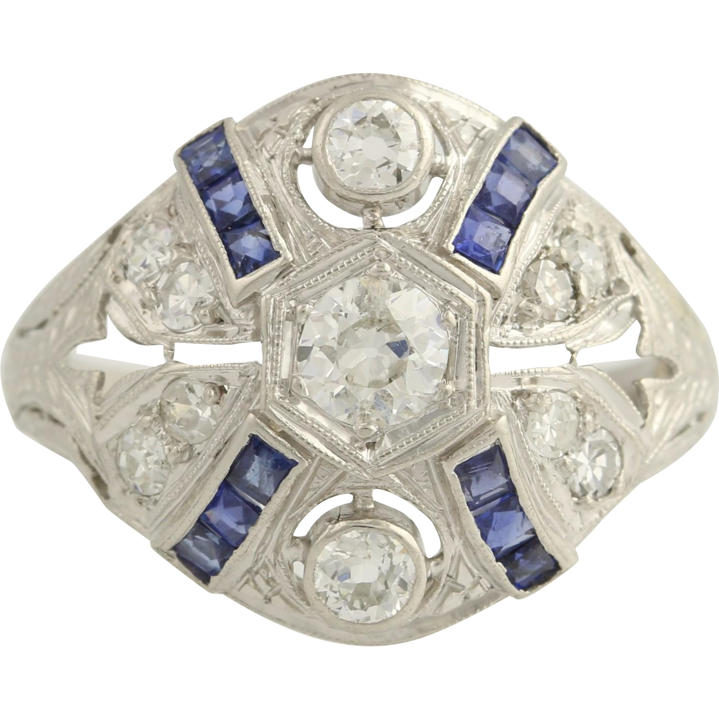 Art Deco Diamond & Synthetic Sapphire Cocktail Ring - Platinum 6 Fine 1.14ctw