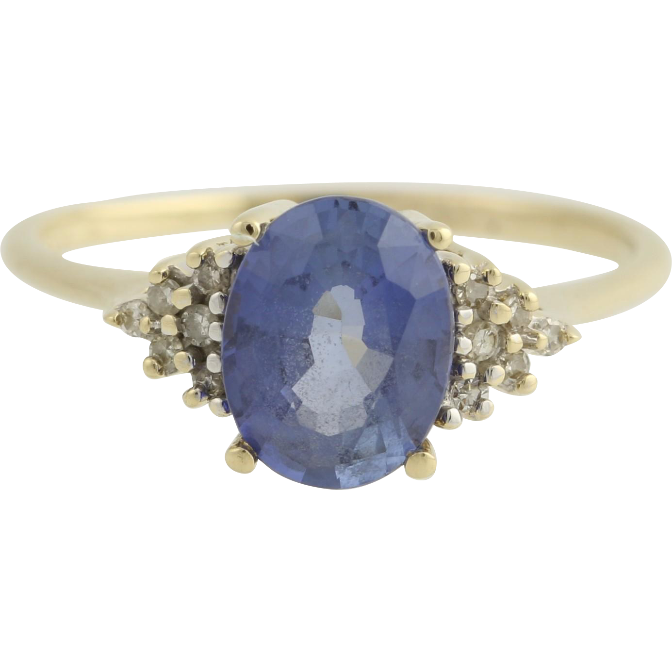Synthetic Sapphire & Diamonds Cocktail Ring - 14k Yellow Gold Band Women's 9.25