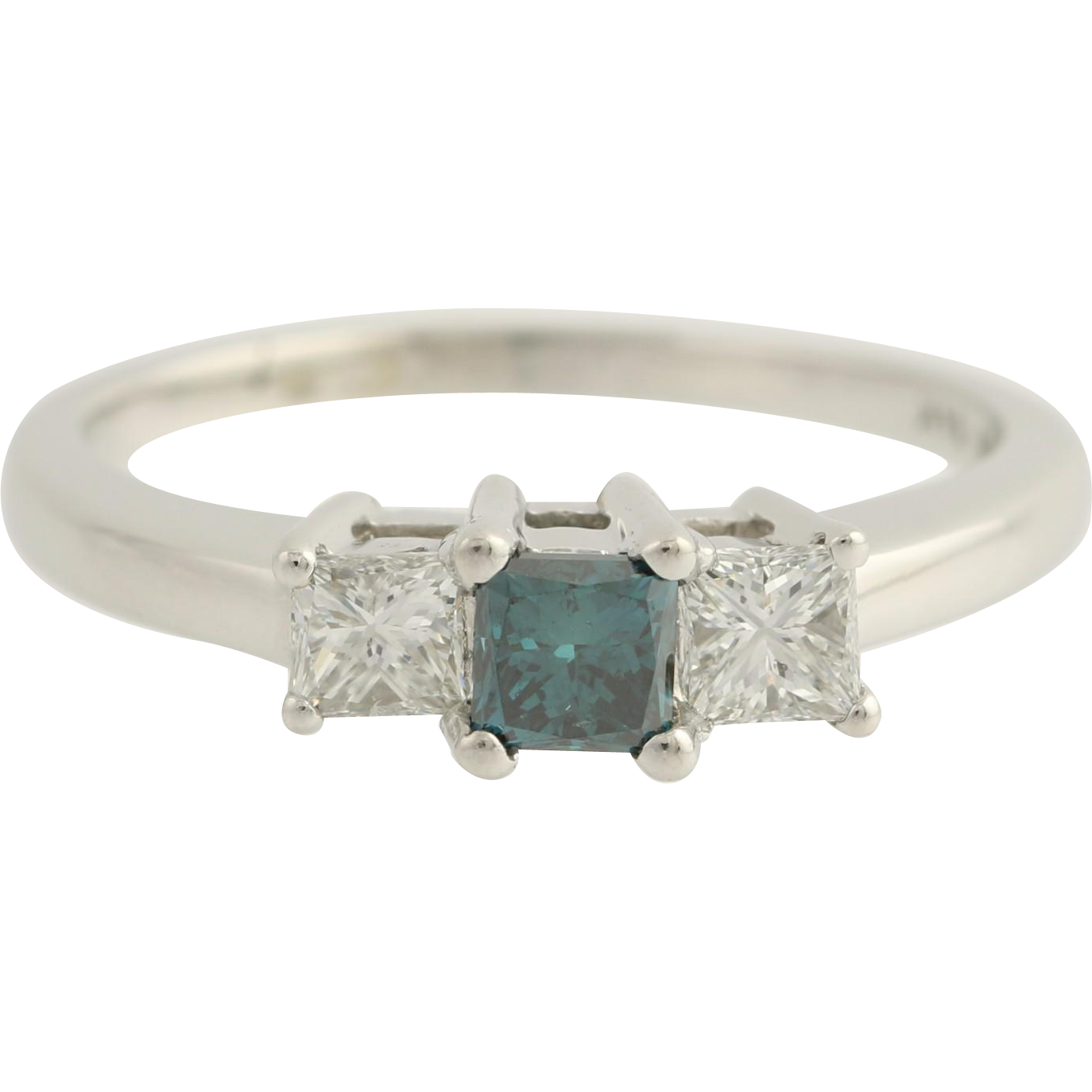 Diamond Engagement Ring - 14k White Gold Color Enhanced Ocean Blue Fine 1.02ctw Unique Engagement Ring