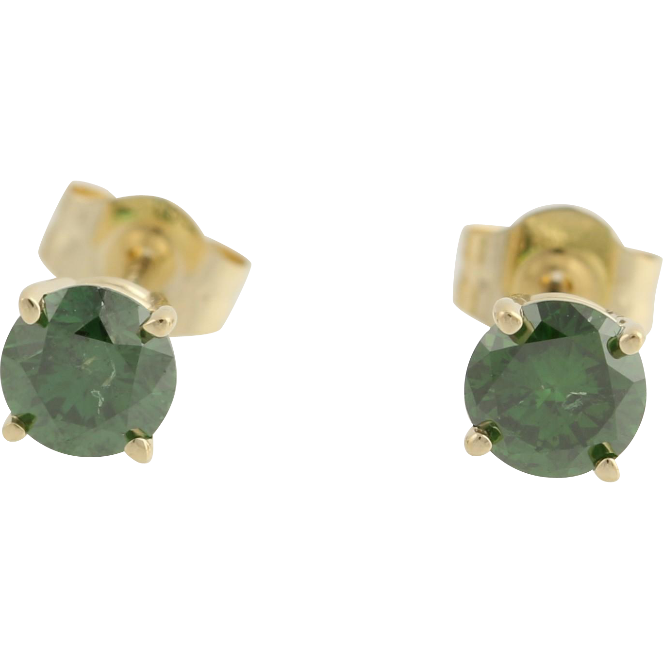 Diamond Stud Earrings - 14k Yellow Gold Color Enhanced Dark Green Fine .66ctw