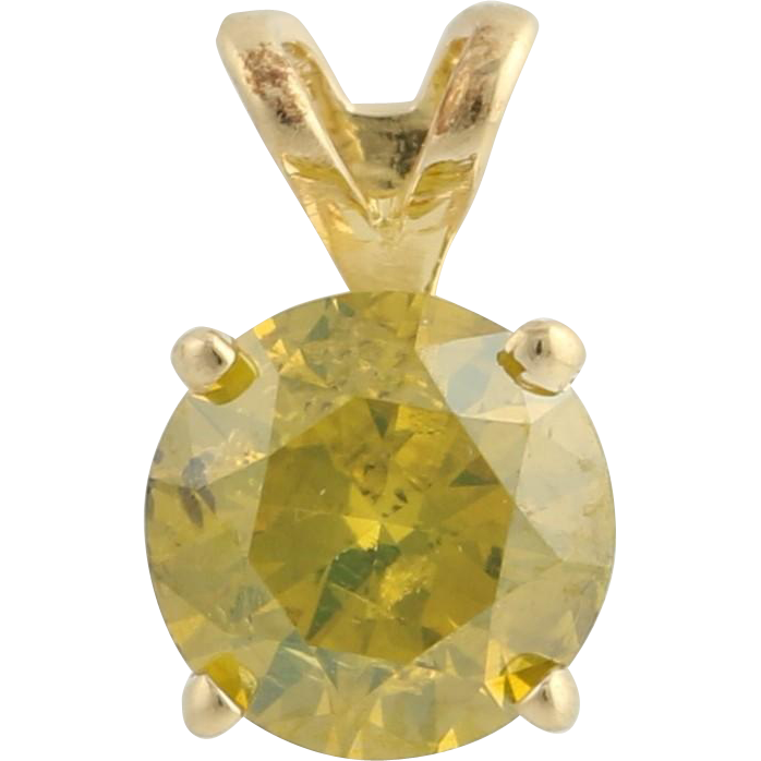 Diamond Solitaire Pendant - 14k Yellow Gold Color Enhanced Genuine .75ctw