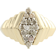 Diamond Cluster Cocktail Ring - 10k Yellow Gold Band Women's Fine Estate