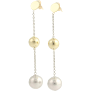 Two-Toned Bead Drop Earrings - 14k Yellow & White Gold Modern Pierced