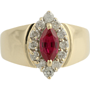 Synthetic Ruby and Diamond Cocktail Ring- 14k Yellow & White Gold Fine 1.11ctw