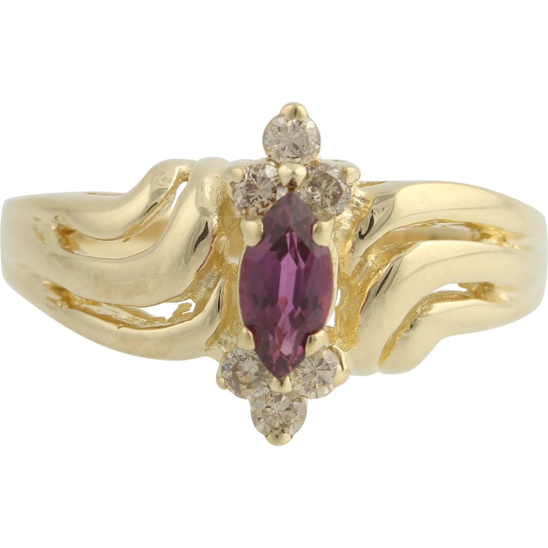 Ruby & Diamond Ring - 14k Yellow Gold July Birthstone 5 1/2 Genuine .55ctw