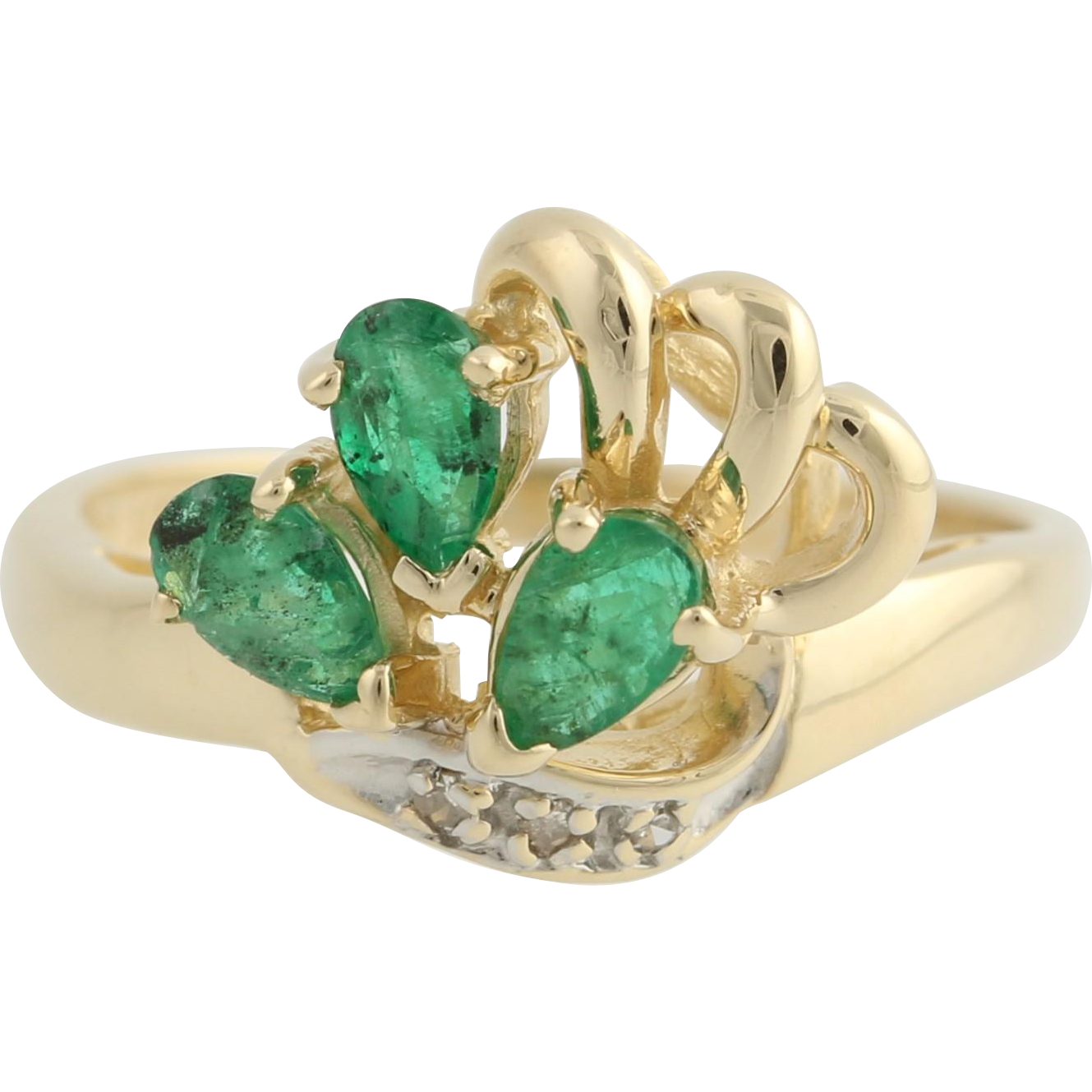 emerald and cocktail ring 14k yellow white