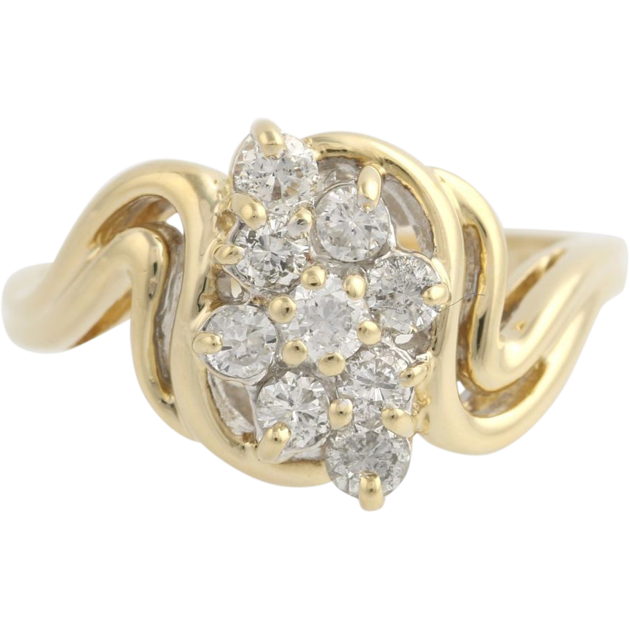 Diamond Cocktail Bypass Ring - 14k Yellow & White Gold Cluster Genuine .37ctw