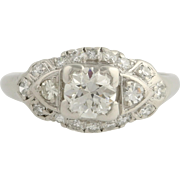 Art Deco Diamond Cocktail Ring - 900 Platinum Engagement 6 1/4 Genuine 1.11ctw