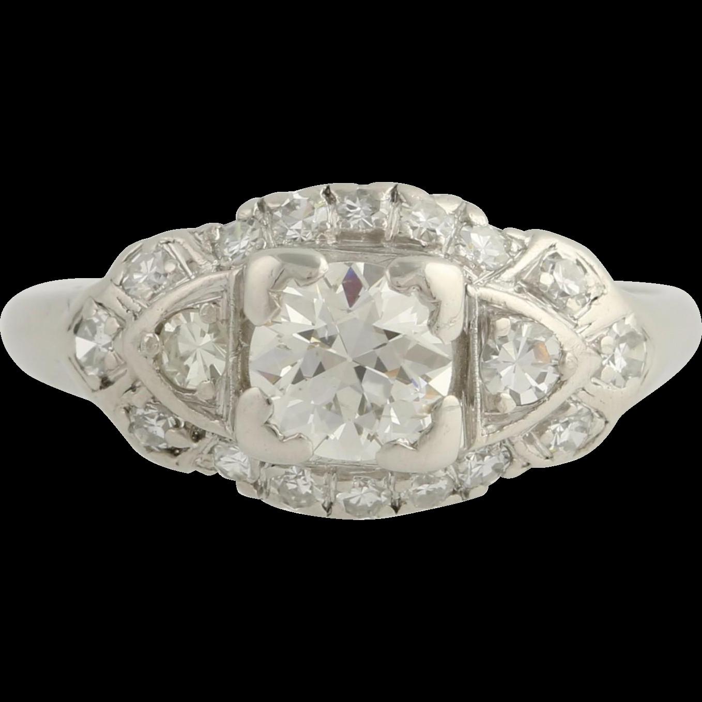Art Deco Diamond Cocktail Ring - 900 Platinum Engagement 6 1/4 Genuine 1.11ctw