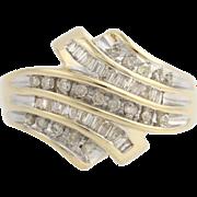 Diamond Cocktail Ring - 10k Yellow & White Gold Women's Size 7 Genuine .50ctw