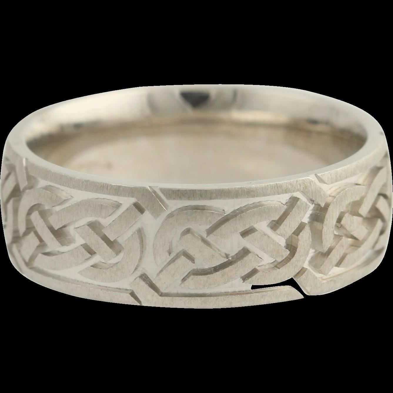 Love Knot Wedding Band - 14k White Gold Women's Size 6 1/4 Celtic Design
