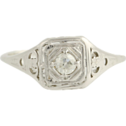 Art Deco Diamond Solitaire Engagement Ring- 20k White Gold Size 7 Genuine .14ctw