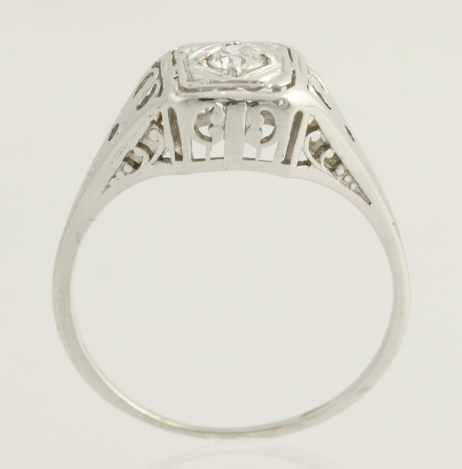 Art Deco Diamond Solitaire Engagement Ring 20k White Gold Size 7 from wilson