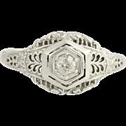Art Deco Diamond Engagement Ring - 18k White Gold Mine Cut 7 1/4 Genuine .08ctw  Unique Engagement Ring