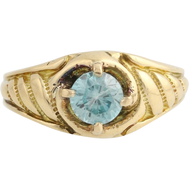 Edwardian Era Blue Zircon Ring - 18k Yellow Gold Solitaire 7 1/2 Fine 1.15ctw