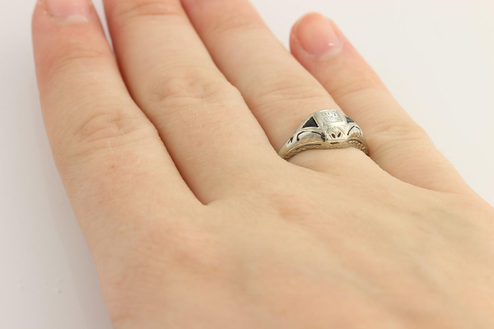 Art Deco Diamond & Syn Sapphire Engagement Ring 20k White Gold Fine fr