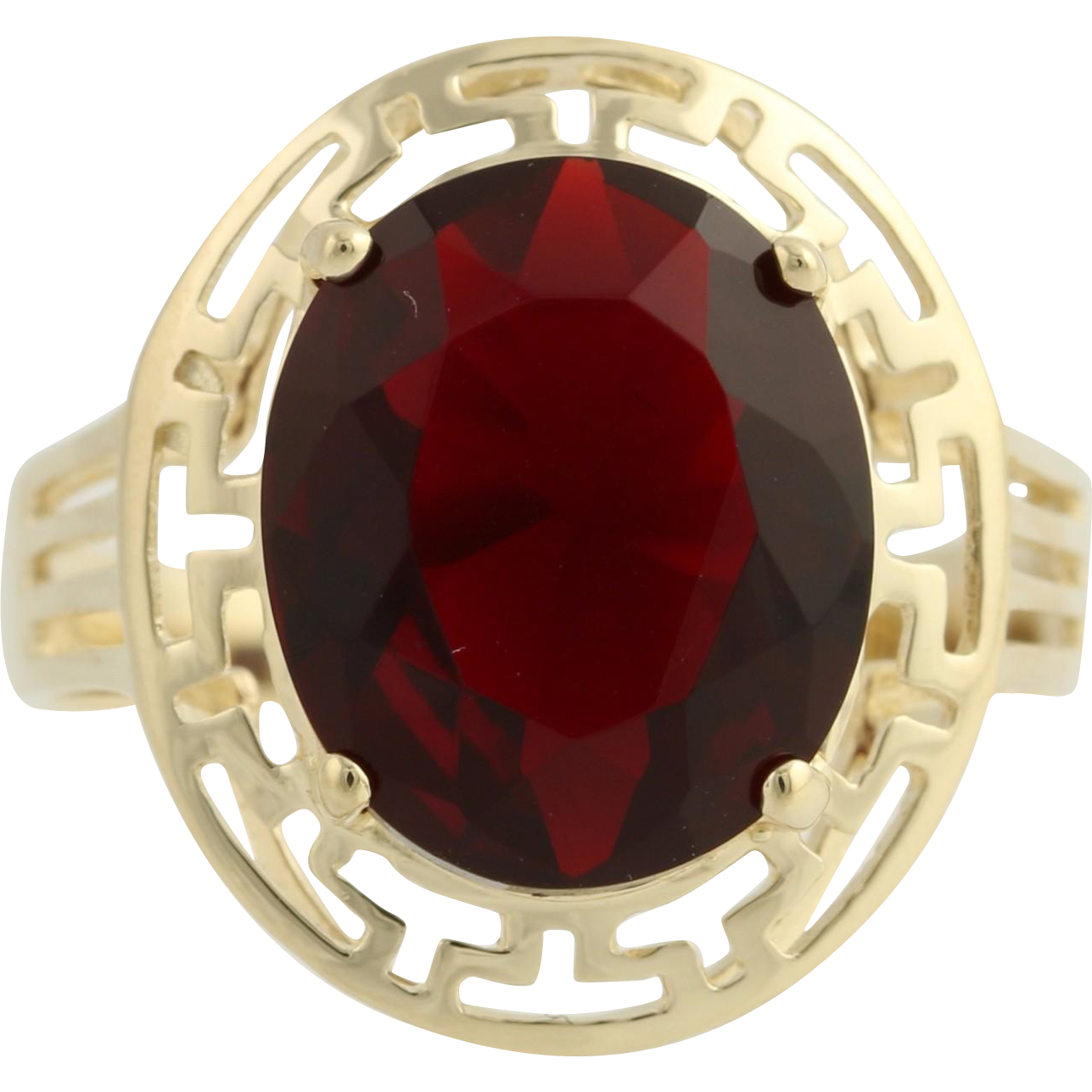 Simulated Ruby Cocktail Ring - 10k Yellow Gold 12x10mm Glass Fashion Size 7 3/4