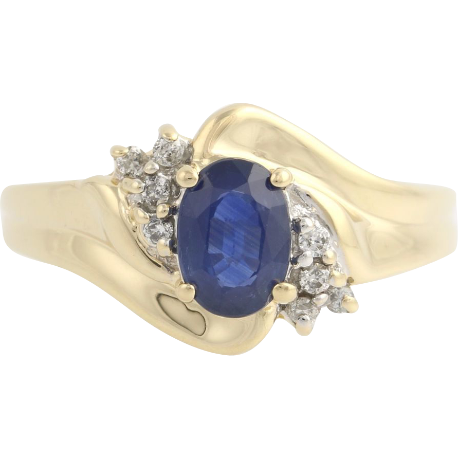 Sapphire & Diamond Cocktail Ring - 14k Yellow Gold Womens 1.00ctw Solitaire Fine