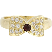 Garnet & Cubic Zirconia Bow Ring - 14k Yellow Gold January 6 - 6 1/4 Fashion CZ