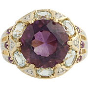 Amethyst, Topaz, and Diamond Cocktail Ring - 14k Yellow & White Gold Fine 8.12ctw