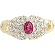 Synthetic Ruby & Cubic Zirconia Cocktail Ring- 14k Yellow and White Gold 5 1/2 CZ