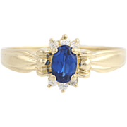 Synthetic Sapphire & Cubic Zirconia Ring - 14k Yellow Gold Size 8 1/2 Fashion CZ