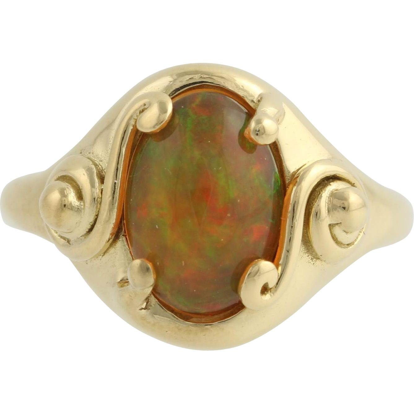 Opal Cocktail Ring - 18k Yellow Gold October Birthstone 5 3/4 Genuine 1.23ctw