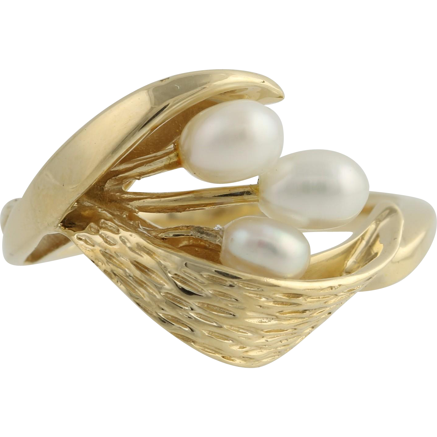Baroque Cultured Pearl Ring - 14k Yellow Gold Floral Design Size 7 1/4 June Gift