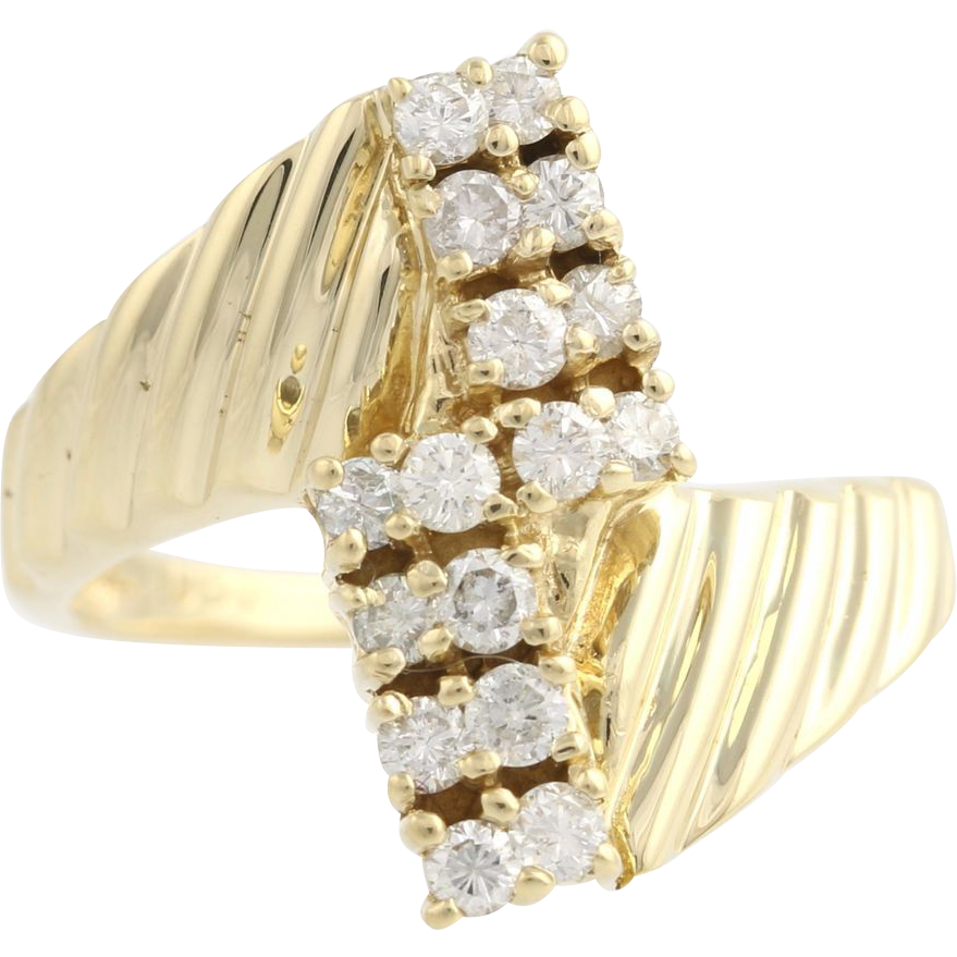 Diamond Bypass Cocktail Ring - 14k Yellow Gold Women's 6 1/2 Genuine .50ctw