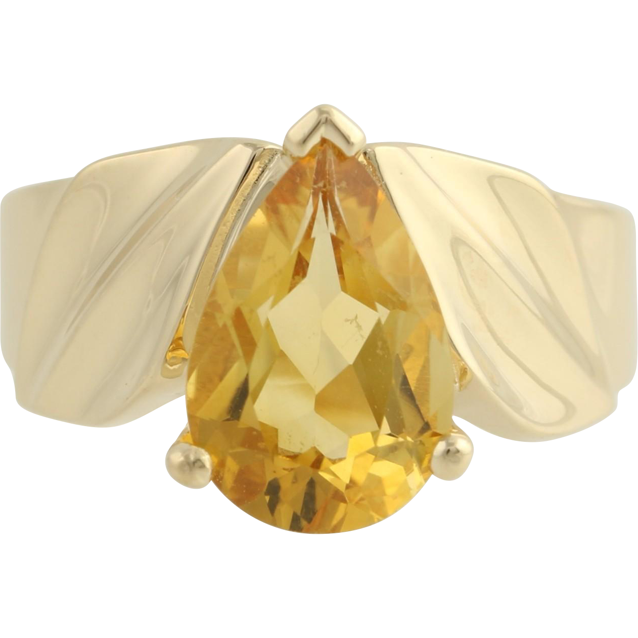 Citrine Cocktail Ring - 14k Yellow Gold November Gift 7 3/4 - 8 Genuine 4.00ctw