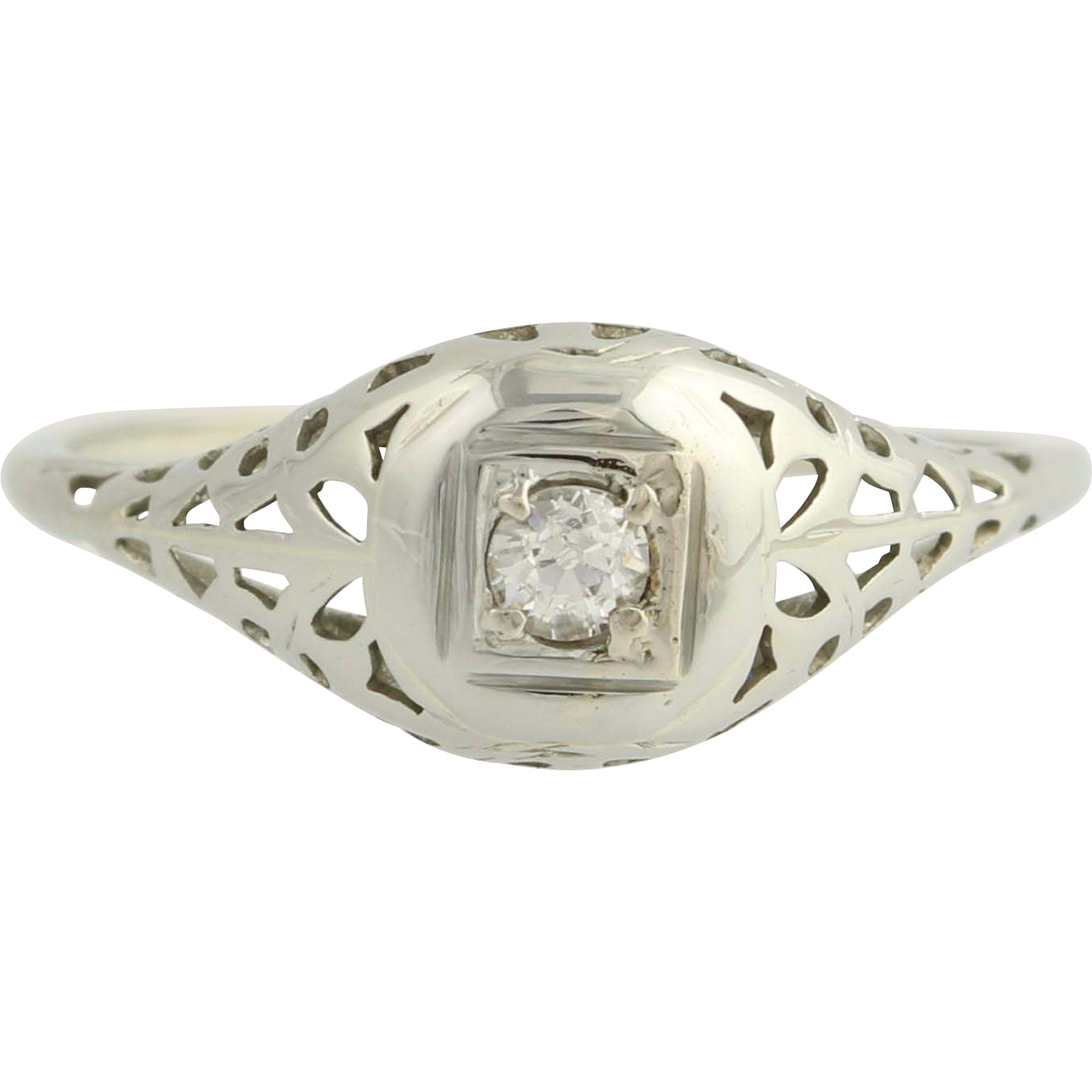 Art Deco Diamond Ring - 18k White Gold European Cut Engagement Fine .08ctw Unique Engagement Ring