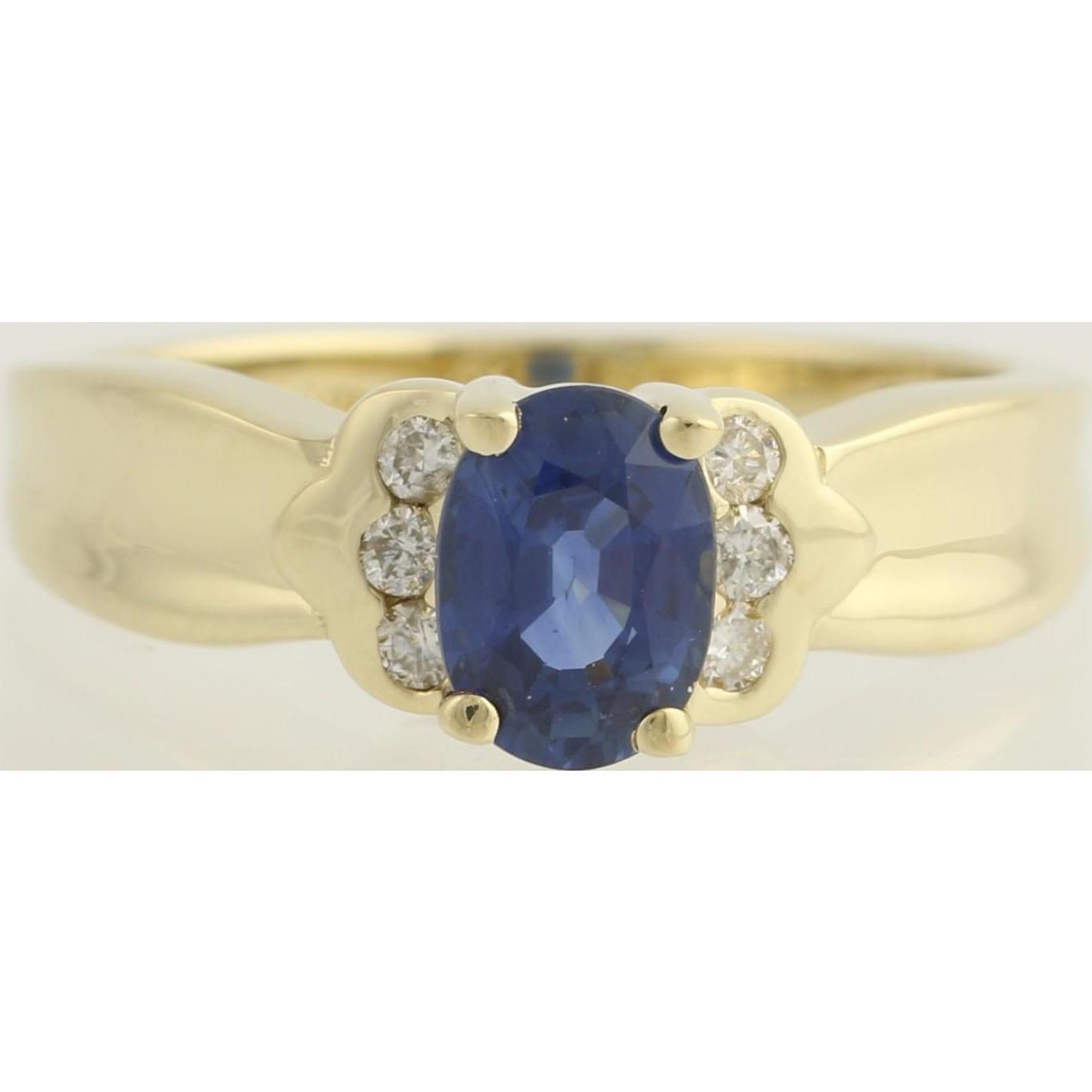 Sapphire & Diamond Ring - 14k Yellow Gold September Birthstone Genuine 1.14ctw