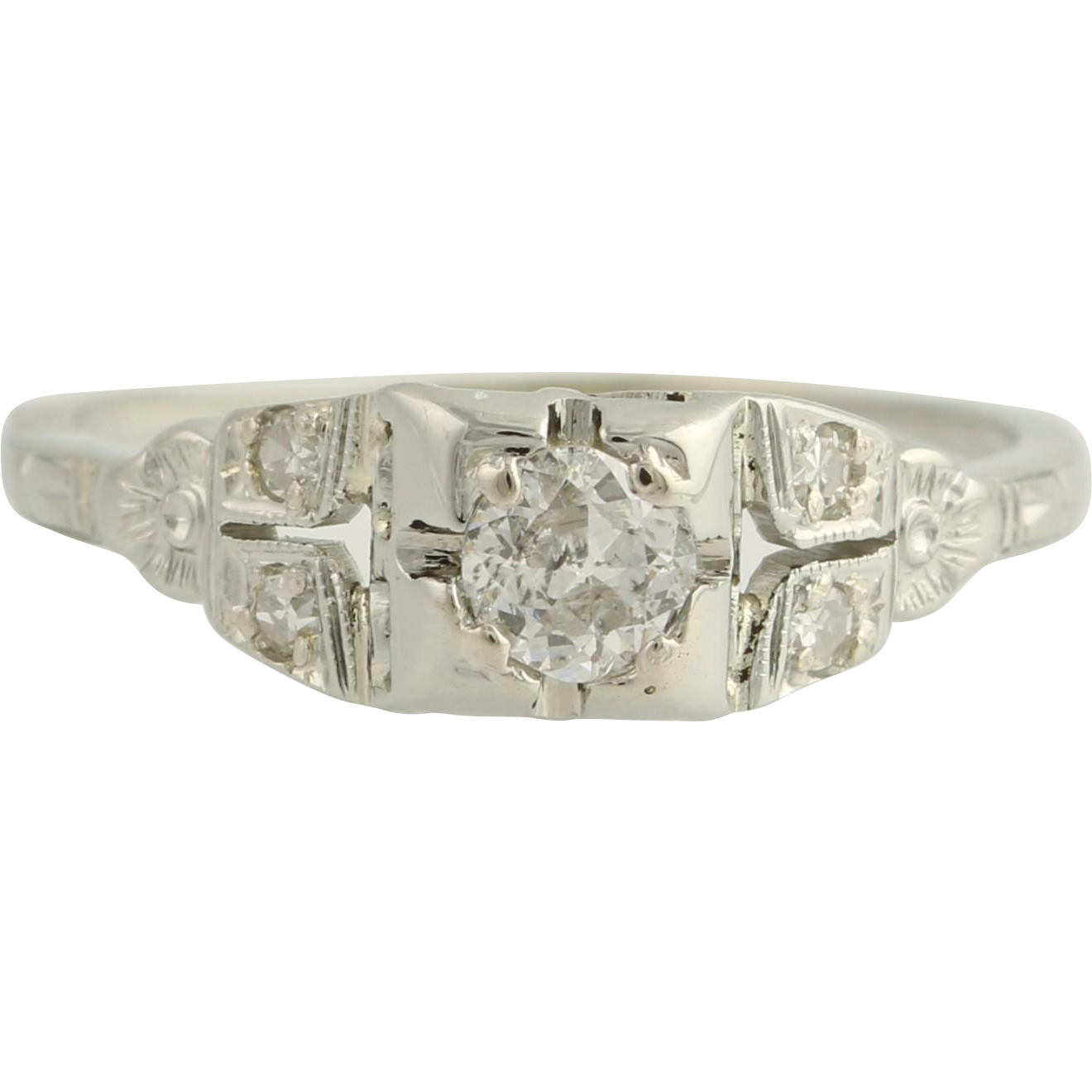 Art Deco Diamond Engagement Ring - 18k White Gold Size 6 3/4 Genuine .33ctw Unique Engagement Ring