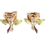 Retro Ruby Rose Earrings - 14k Yellow White Rose Gold & Platinum .36ctw Clip Ons