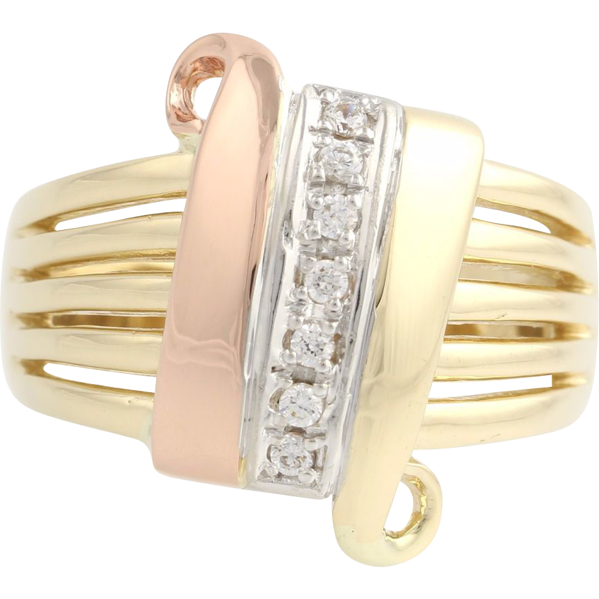 Cubic Zirconia Tri-Toned Cocktail Band - 14k Yellow, White, & Rose Gold Fashion