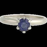 Sapphire Solitaire Ring - Platinum Engagement September Size 7 Genuine .86ctw