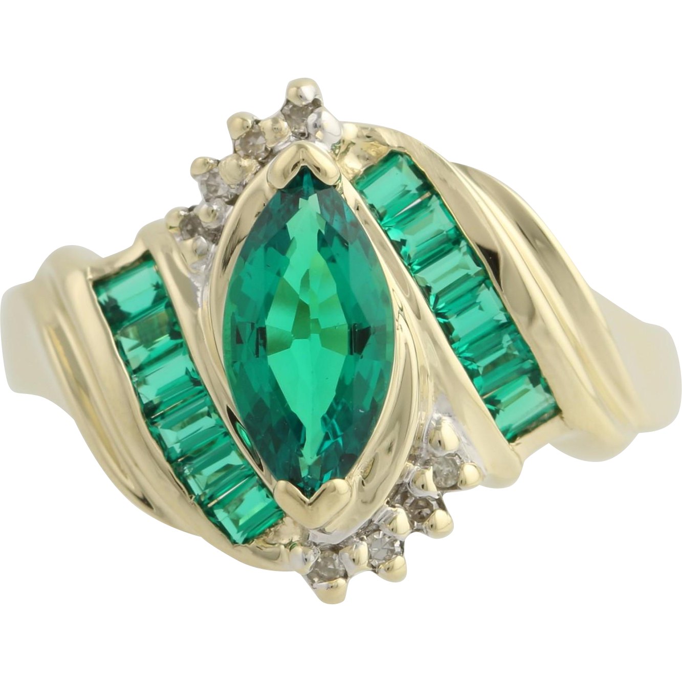 Synthetic Emerald and Diamond Cocktail Ring - 10k Yellow & White Gold Fine 1.80ctw