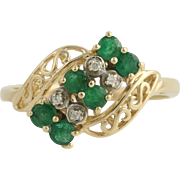 Emerald & Diamond Cocktail Ring - 14k Yellow and White Gold 7 3/4 Genuine .62ctw
