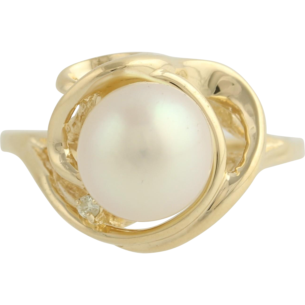 Cultured Pearl Cocktail Ring- 14k Yellow Gold Diamond Accent June Genuine .01ctw