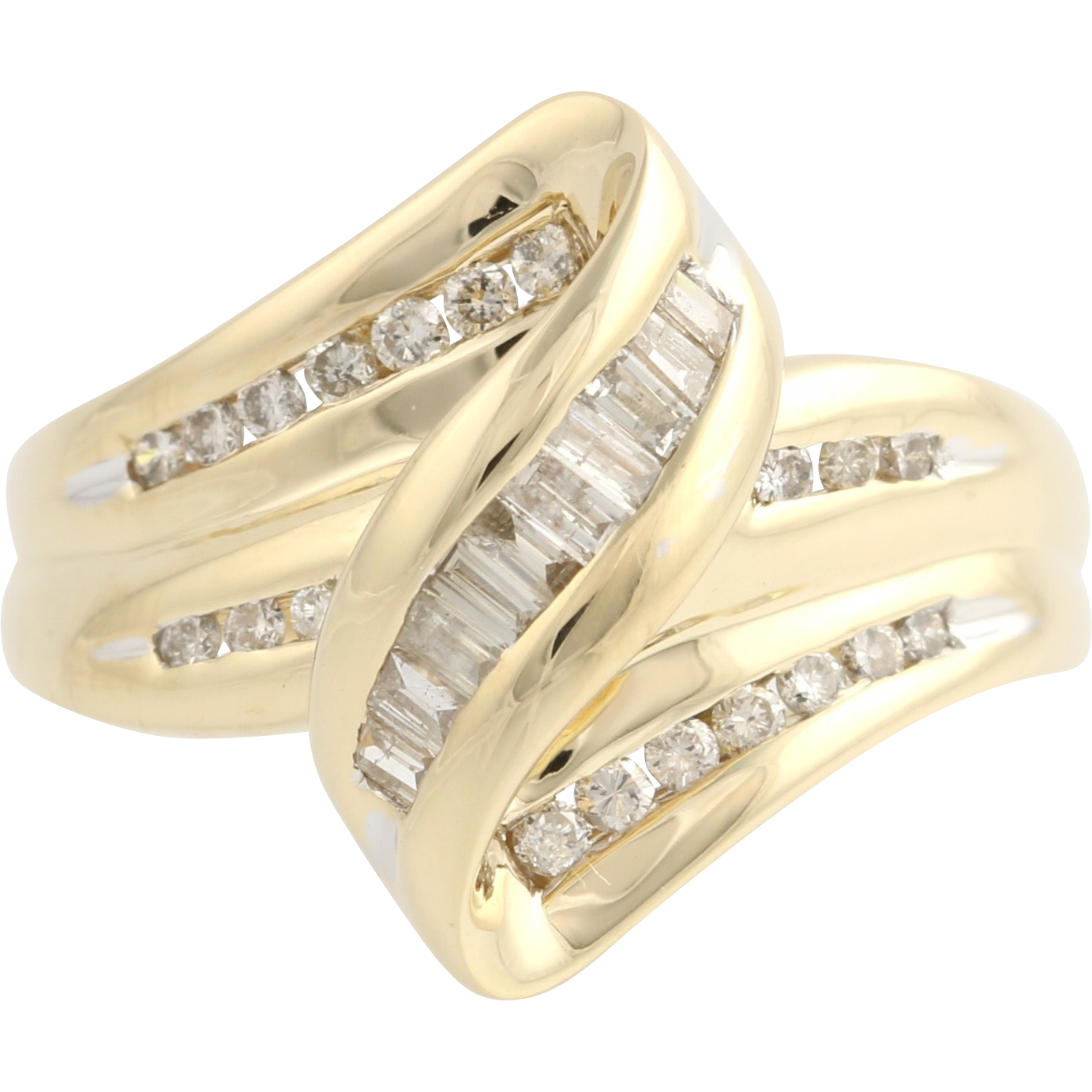 Diamond Curve Cocktail Ring - 14k Yellow Gold Baguette Modern Natural .50ctw