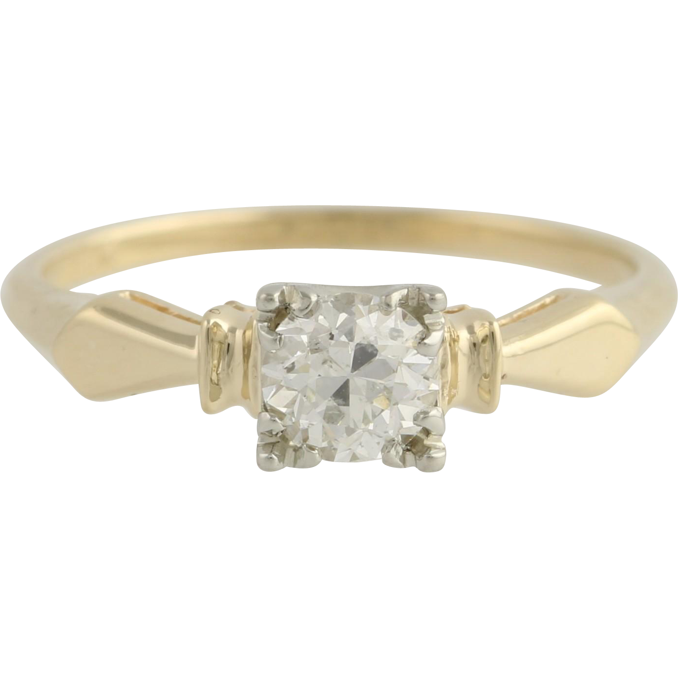 Art Deco Diamond Engagement Ring - 14k Yellow & White Gold 5 1/2 Genuine .44ctw Unique Engagement Ring