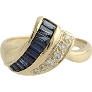 Sapphire & Diamond Cocktail Ring - 14k Yellow Gold Size 4 3/4 Genuine .75ctw