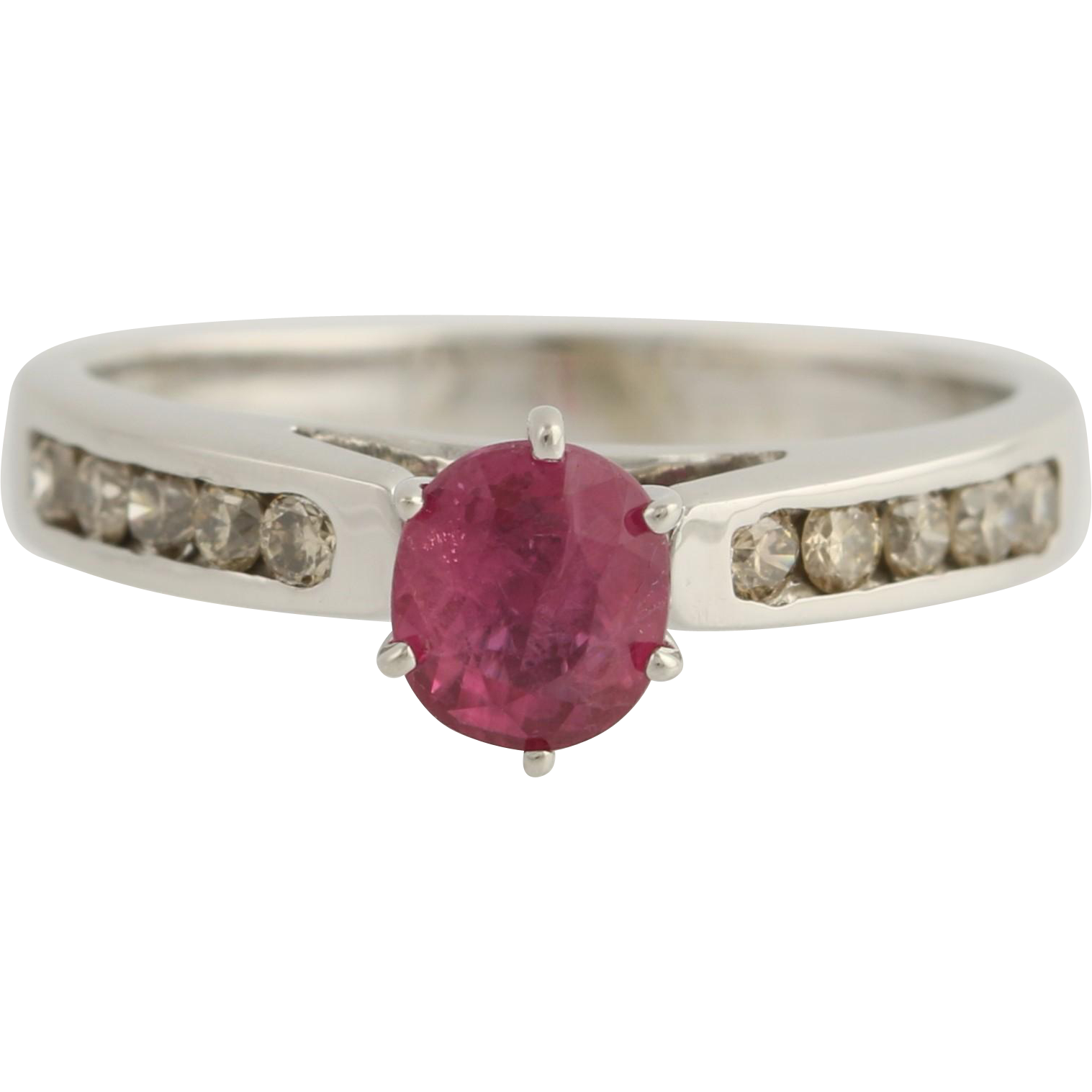 Ruby & Diamond Ring - 10k White Gold Engagement Size 7 1/4 Genuine 1.23ctw