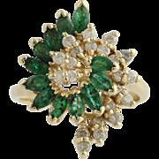Emerald & Diamond Swirl Cocktail Ring - 14k Yellow Gold 6 1/2 Genuine 1.52ctw