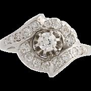Retro Diamond Cocktail Ring - 14k White Gold Women's Size 6 1/2 Genuine .70ctw