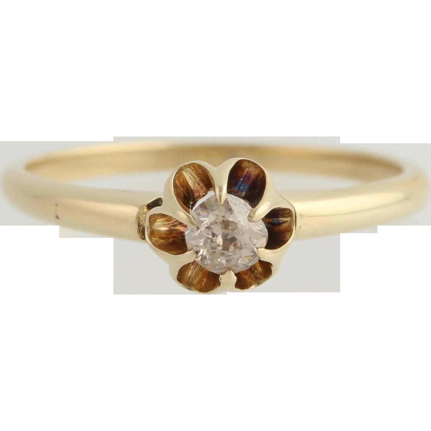 Victorian Era Diamond Engagement Ring - 14k Yellow Gold Old MIne Cut Fine .17ctw Unique Engagement Ring