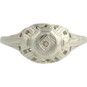 Art Deco Diamond Ring - 18k White Gold c. 1920s - 1930s Women's Genuine .03ctw