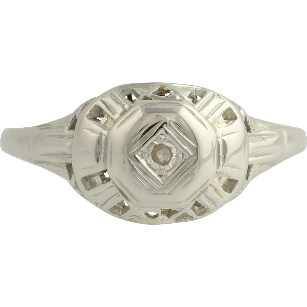Art Deco Diamond Ring - 18k White Gold c. 1920s - 1930s Women's Genuine .03ctw