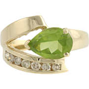 Peridot & Diamond Cocktail Ring - 14k Yellow Gold 6 1/2 Genuine 1.75ctw